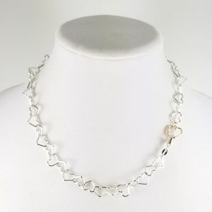 """Sterling Heart Link 18"""" Necklace w/Rosetone Accent"""